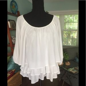 Beautiful white 3 tier summer blouse.